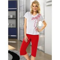 Çiçekli Kapri Pijama Takımı